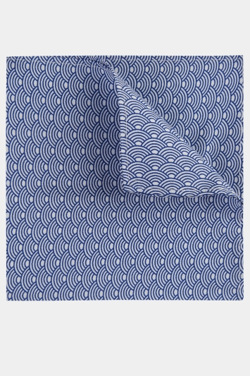 Moss London Blue & White Waves Printed Cotton Pocket Square