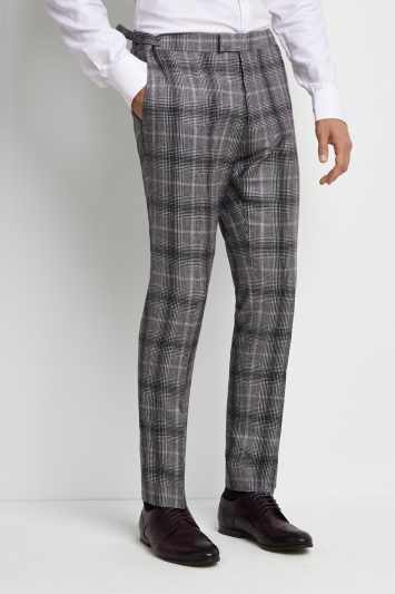 Moss London Premium Skinny Fit Black and White Graphic Check Trousers