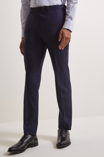 Moss London Premium Slim Fit Ink Herringbone Tweed Trousers