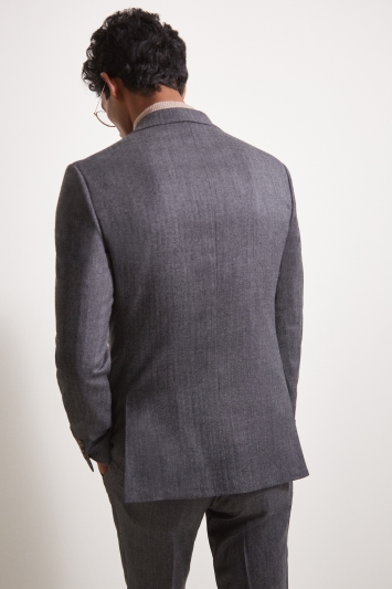 Moss London Premium Slim Fit Charcoal Herringbone Tweed Jacket