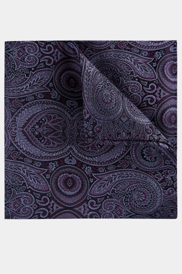 9378a687b6 Moss 1851 Purple Tonal Oversized Paisley Pocket Square