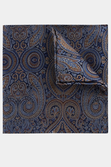 Moss 1851 Blue Tonal Oversized Paisley Pocket Square