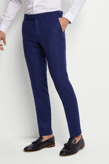 Moss London Premium Skinny Fit Bright Blue Boucle Texture Trousers