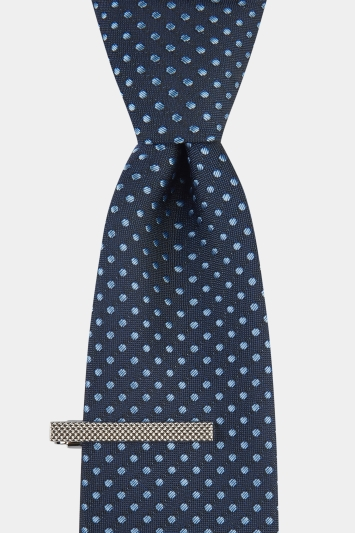Moss London Navy Tonal Spotted Tie & Clip