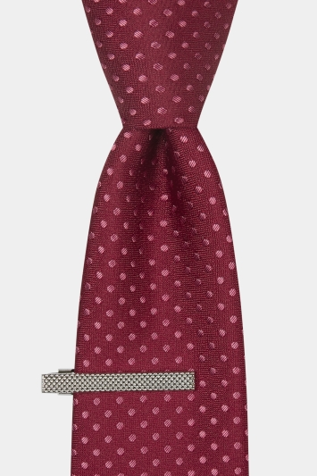 Moss London Wine Tonal Spotted Tie & Clip