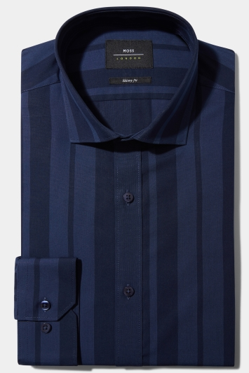 Moss London Skinny Fit Navy Single Cuff Stripe Collar Shirt Size 16.5 Rrp£32.50 Clothes, Shoes & Accessories