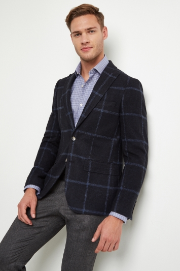 Moss London Skinny Fit Navy Check Jacket 9965850d04