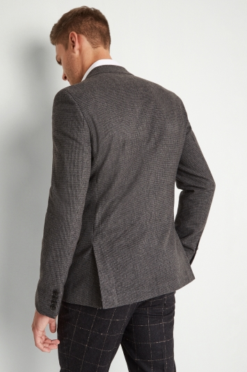 Moss London Skinny Fit Light Grey Puppytooth Jacket