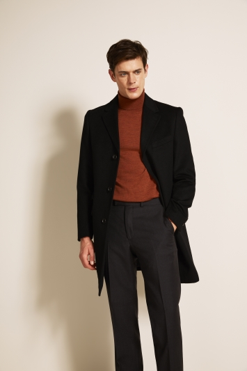 Moss 1851 Tailored Fit Black Epsom Overcoat