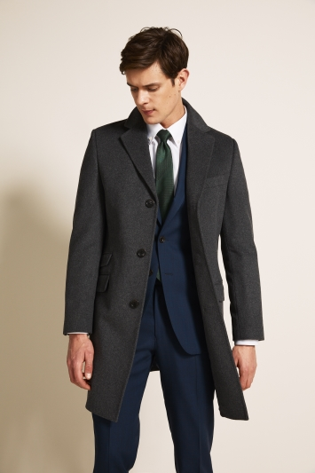Moss 1851 Tailored Fit Charcoal Epsom Overcoat
