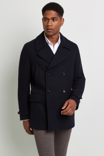 aeae2e04b6a Moss 1851 Tailored Fit Navy Herringbone Pea Coat