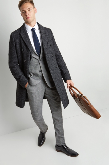 Moss 1851 Tailored Fit Charcoal Herringbone Double Breasted Overcoat