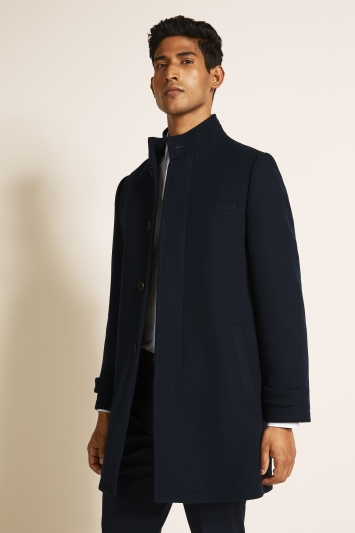 DKNY Slim Fit Navy Twill Funnel Neck Coat
