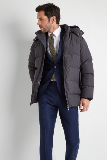 Moss 1851 Tailored Fit Charcoal Nylon Puffer Coat
