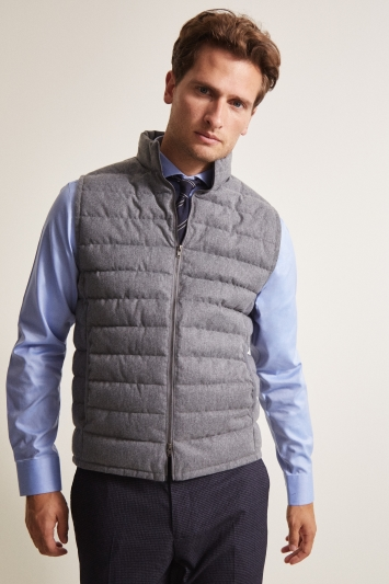 Moss 1851 Tailored Fit Light Grey Wool Gilet