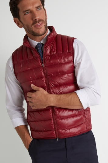 Moss 1851 Tailored Fit Burgundy Gilet