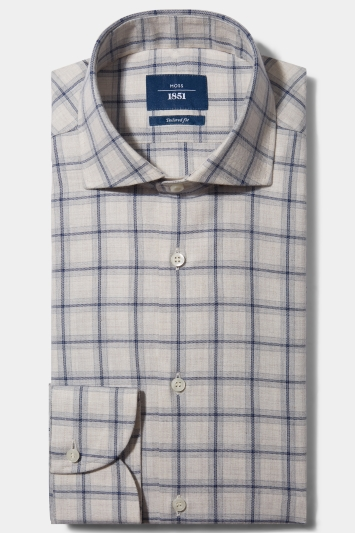 Moss 1851 Tailored Fit Neutral Single Cuff Brushed Check Shirt
