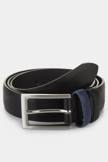 Moss London Black Belt with Cobalt Keeper