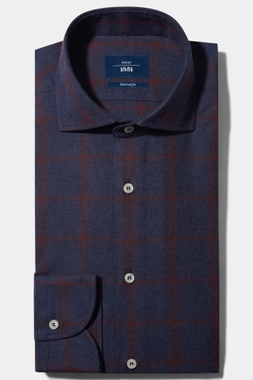 Moss 1851 Tailored Fit Wine Single Cuff Brushed Overcheck Shirt