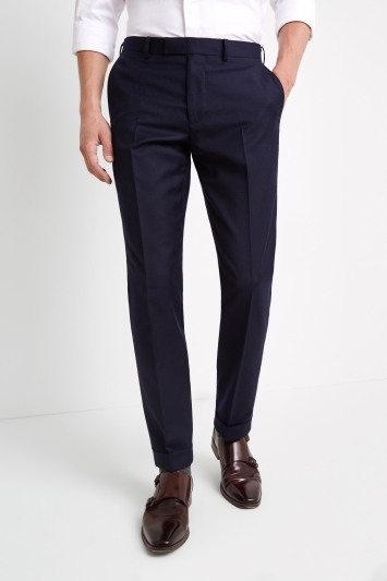 Moss 1851 Tailored Fit Navy Wool Rich Brushed Trousers