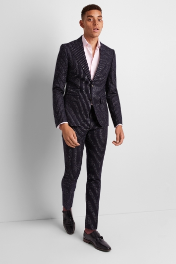 Moss London Premium Skinny Fit Ink Boucle Stripe Jacket