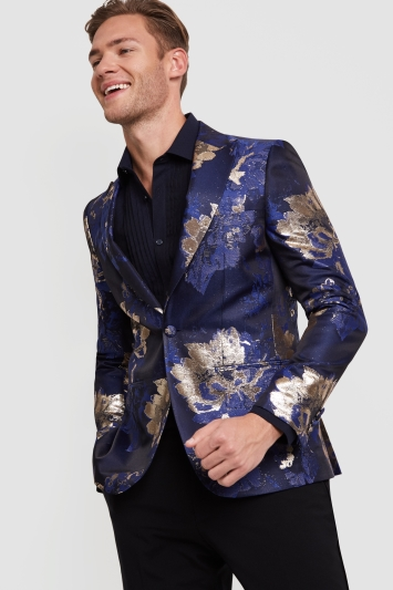 a1e76cfa3cdf Moss London Skinny Fit Blue Gold Leaf Jacket
