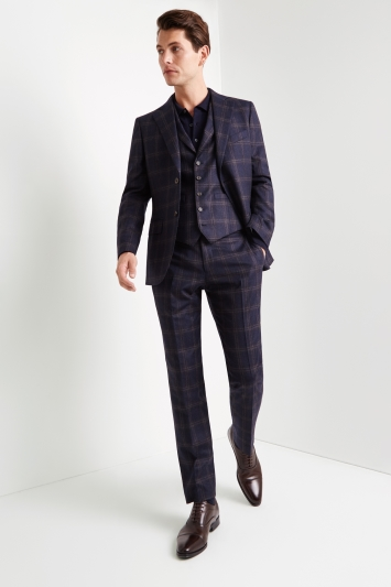 Vitale Barberis Canonico Tailored Fit Navy Bold Check Jacket