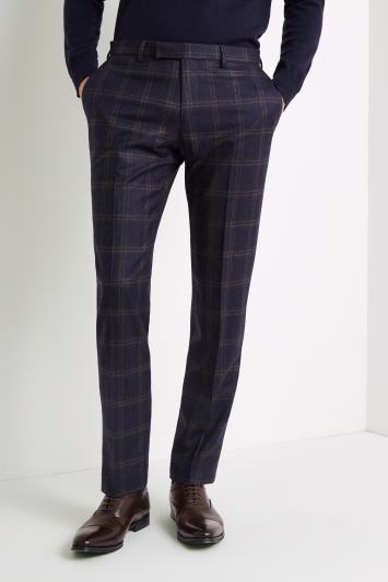 Vitale Barberis Canonico Tailored Fit Navy Bold Check Trousers
