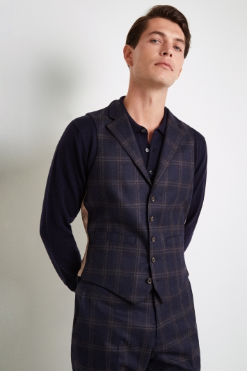 Vitale Barberis Canonico Tailored Fit Navy Bold Check Waistcoat