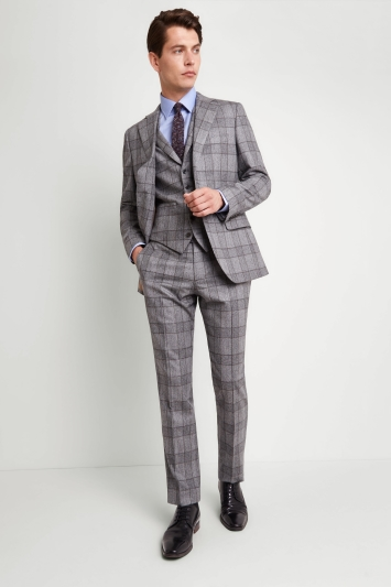 Vitale Barberis Canonico Tailored Fit Grey Bold Check Jacket