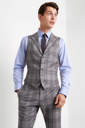 Vitale Barberis Canonico Tailored Fit Grey Bold Check Waistcoat