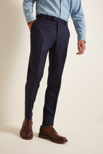 Vitale Barberis Canonico Tailored Fit Plain Blue Trousers
