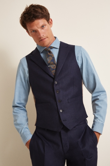 Vitale Barberis Canonico Tailored Fit Plain Blue Waistcoat