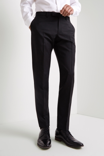 Vitale Barberis Canonico Tailored Fit Black Wool Mohair Trousers
