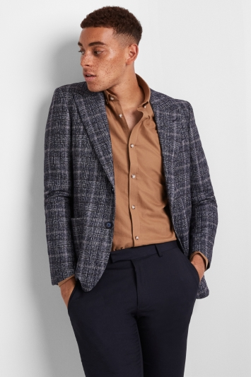 Moss London Premium Skinny Fit Blue Brown Prince of Wales Check Jacket