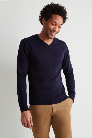 Moss 1851 Navy Merino Wool V-Neck Jumper