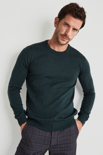 Moss 1851 Forest Green Merino Wool Crew-Neck Jumper