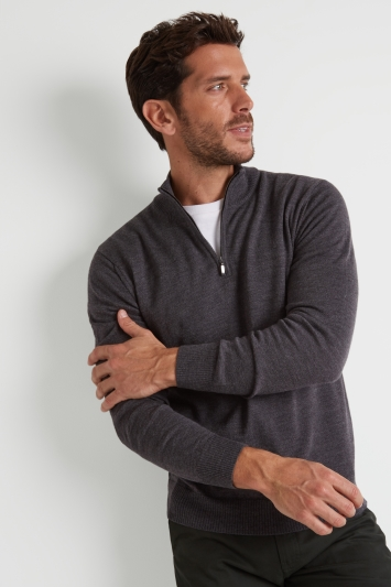 Moss 1851 Charcoal Merino Wool Zip-Neck Jumper