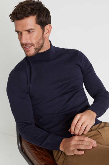 Moss 1851 Navy Merino Wool Roll-Neck Jumper