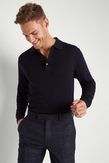 Moss 1851 Navy Merino Wool Polo-Neck Jumper