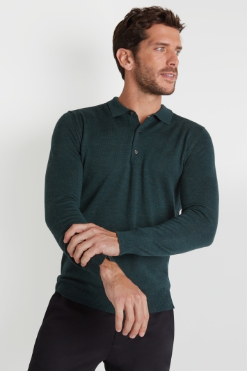 Moss 1851 Forest Green Merino Wool Polo-Neck Jumper