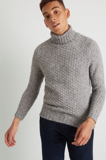 Moss London Grey Textured Chunky Roll-Neck Jumper
