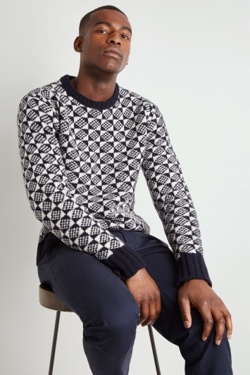 Moss 1851 Navy & White Graphic Chunky Crew-Neck Jumper