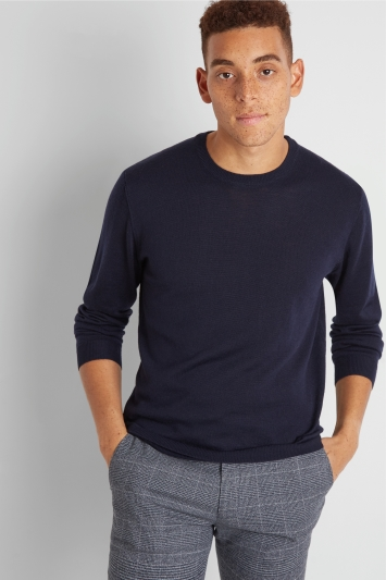 Moss London Navy Crew-Neck Jumper