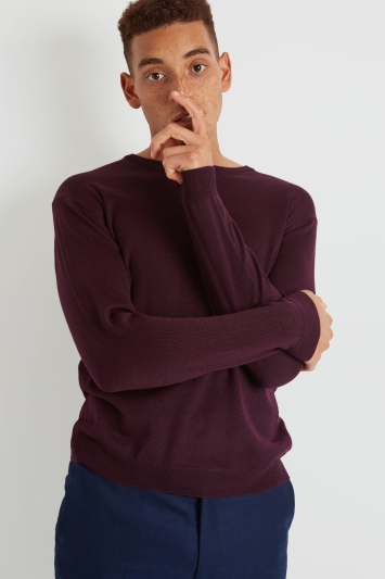 Moss London Wine Crew-Neck Jumper