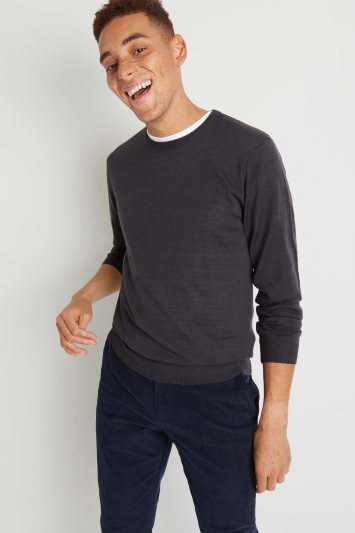 Moss London Charcoal Crew-Neck Jumper