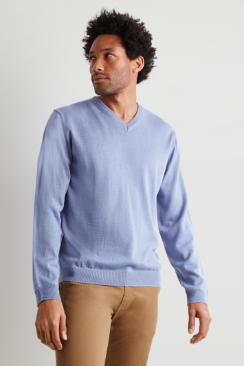 Moss London Sky Blue V-Neck Jumper