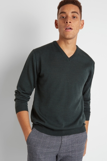 Moss London Forest Green V-Neck Jumper