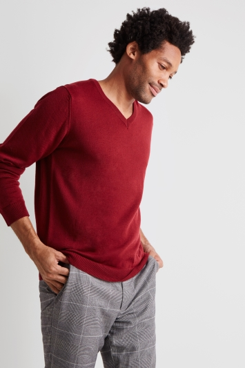Moss London Red V-Neck Jumper