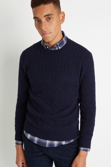 Moss London Navy Melange Cable-Knit Crew-Neck Jumper